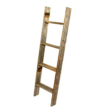 BarnwoodUSA Rustic Farmhouse Blanket Ladder - Our 4 ft Ladder can be Mounted Horizontally or Vertically and is Crafted From 100% Recycled and Reclaimed Wood | No Assembly Required | Weathered Gray