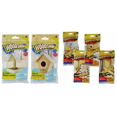 Wood Craft Model Activity Kits, Helicopter, Fighter Plane, Pirate Ship, Race Car, Bird House, Bird Feeder, 6-kit Set: Toys & Games