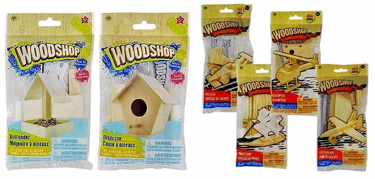 The Wood Shop Wood Craft Model Activity Kits, Helicopter, Fighter Plane, Pirate Ship, Race Car, Bird House, Bird Feeder, 6-kit Set