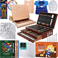 MEEDEN Drawing Kit with Tabletop Easel, Three Drawers with Oil Watercolor Acrylic Paints and Oil Pastel All You Need to…