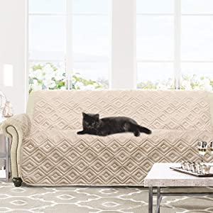 DriftAway Marley 100 Percent Waterproof Furniture Protector Quilted Cover Couch Slipcover Perfect for Kids Pet Cat Dog Machine Washable Sofa Beige