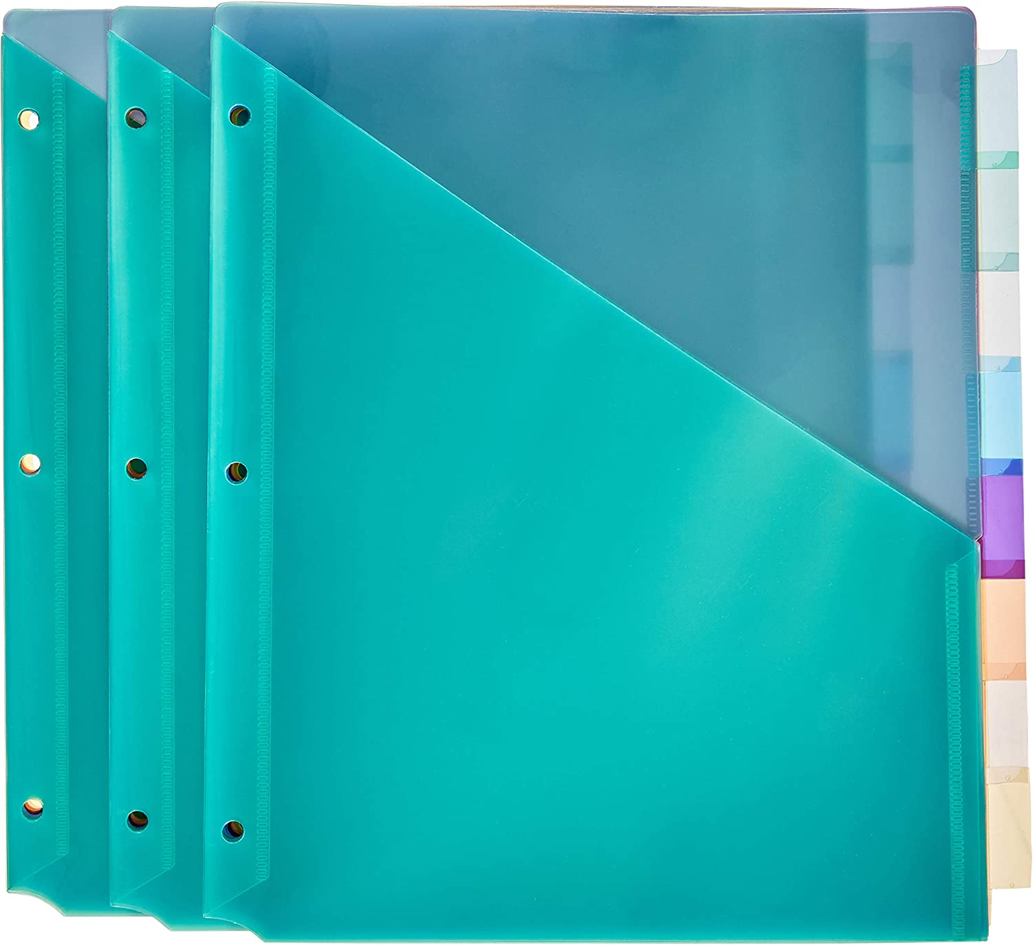 Basics Two Pocket Plastic Dividers, 8 Tab Set, Multicolor, Pack of 3 Sets : Office Products