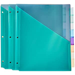 AmazonBasics Two Pocket Plastic Dividers, 8 Tab Set, Multicolor, Pack of 3 Sets