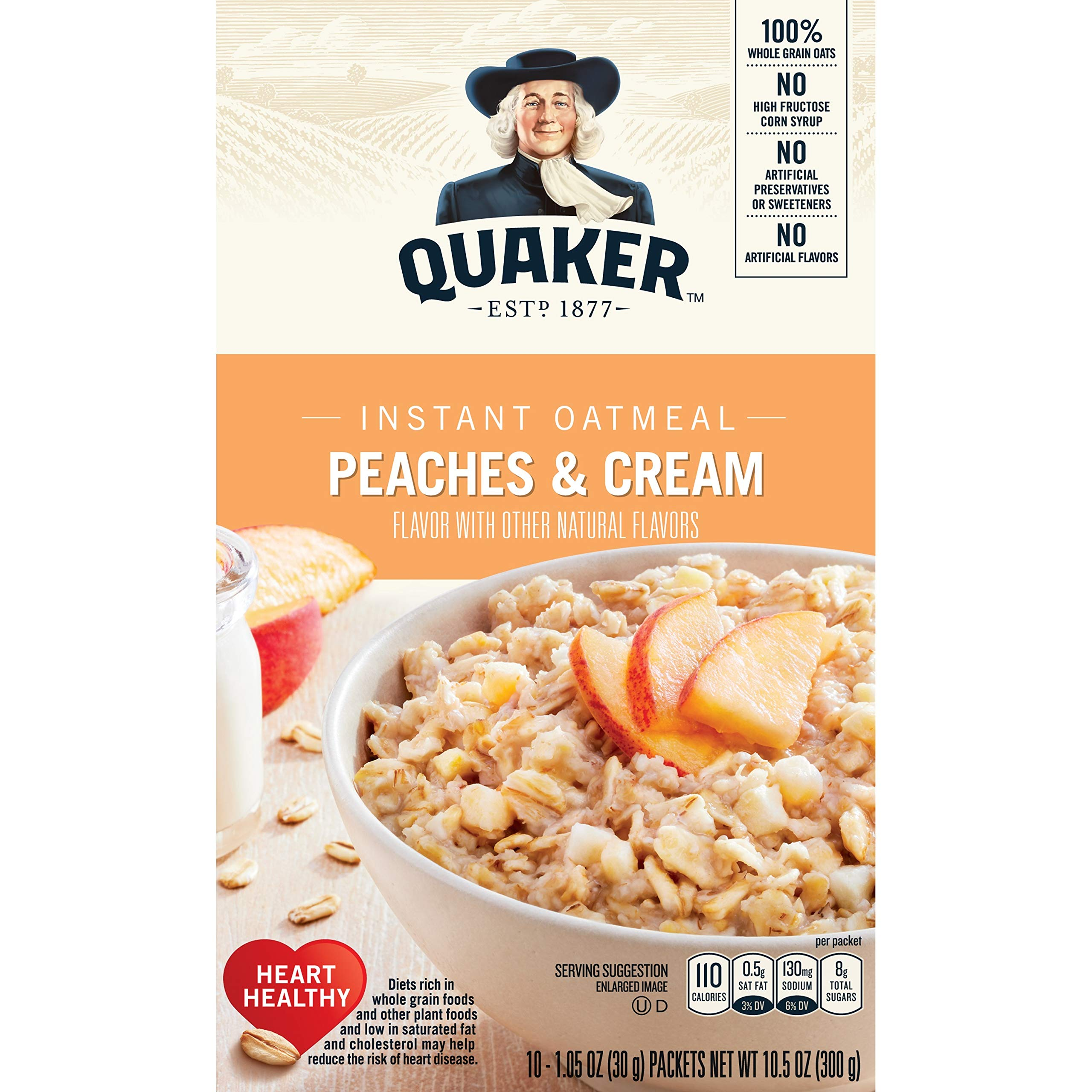 Quaker Instant Oatmeal, Peaches & Cream, Breakfast Cereal, 10 Packets Per Box