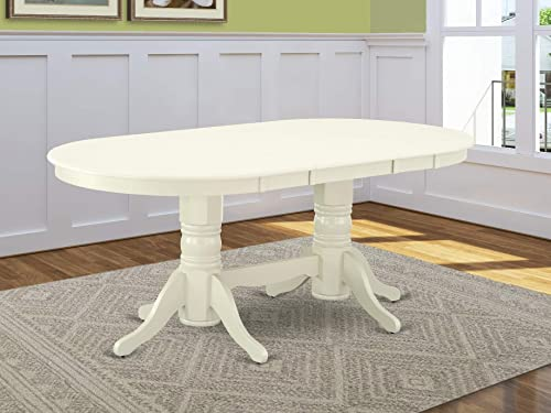 VAT-LWH-TP Vancouver Oval Double Pedestal dining room Table with 17 Butterfly Leaf in Linen White Finish