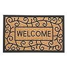 J&M Home Fashions Natural Coir Tuffride PVC Heavy Duty Non-Slip Doormat, 18x30, Welcome Swirls