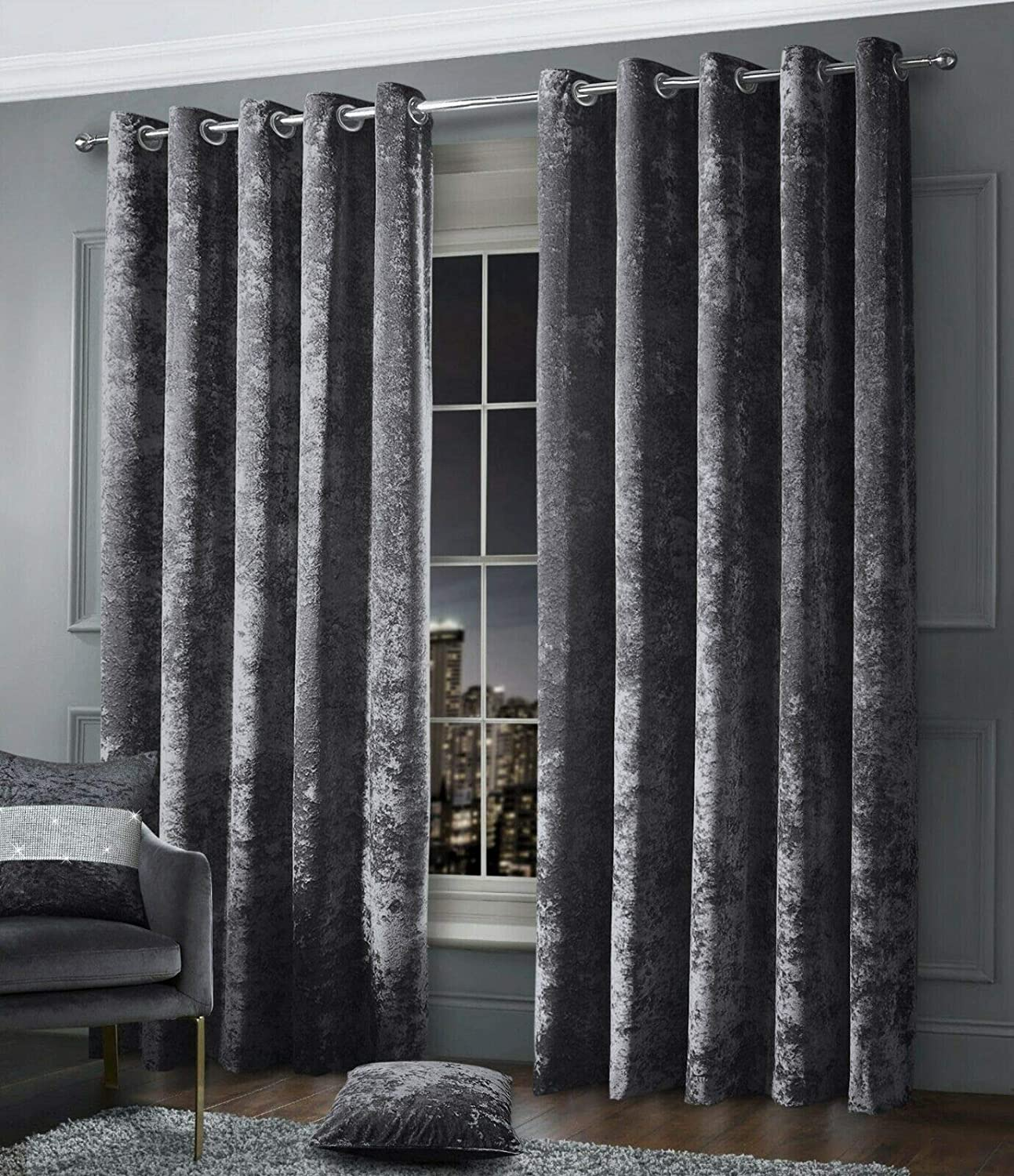 """RAYYAN LINEN CHARCOAL GREY FANCY CRUSHED VELVET EYELET RING TOP PAIR OF CURTAINS FULLY LINED (Width 46"""" X Drop 54"""")"""