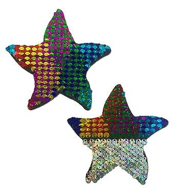 Amazon.com: Estrella de mar: arco iris y plata con tapa ...