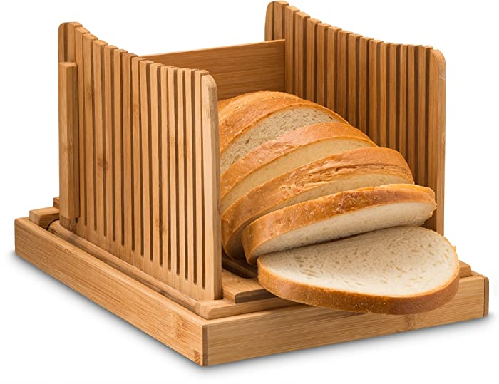 """Bamboo Bread Slicer Cutting Guide - Wood Bread Cutter for Homemade Bread, Loaf Cakes, Bagels   Foldable and Compact with Crumbs Tray   Works Great with 10"""" Inch Knife"""