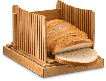 Bambú plegable Pan Slicer con bandeja con recogedor de migas para corte incluso rebanadas cada vez