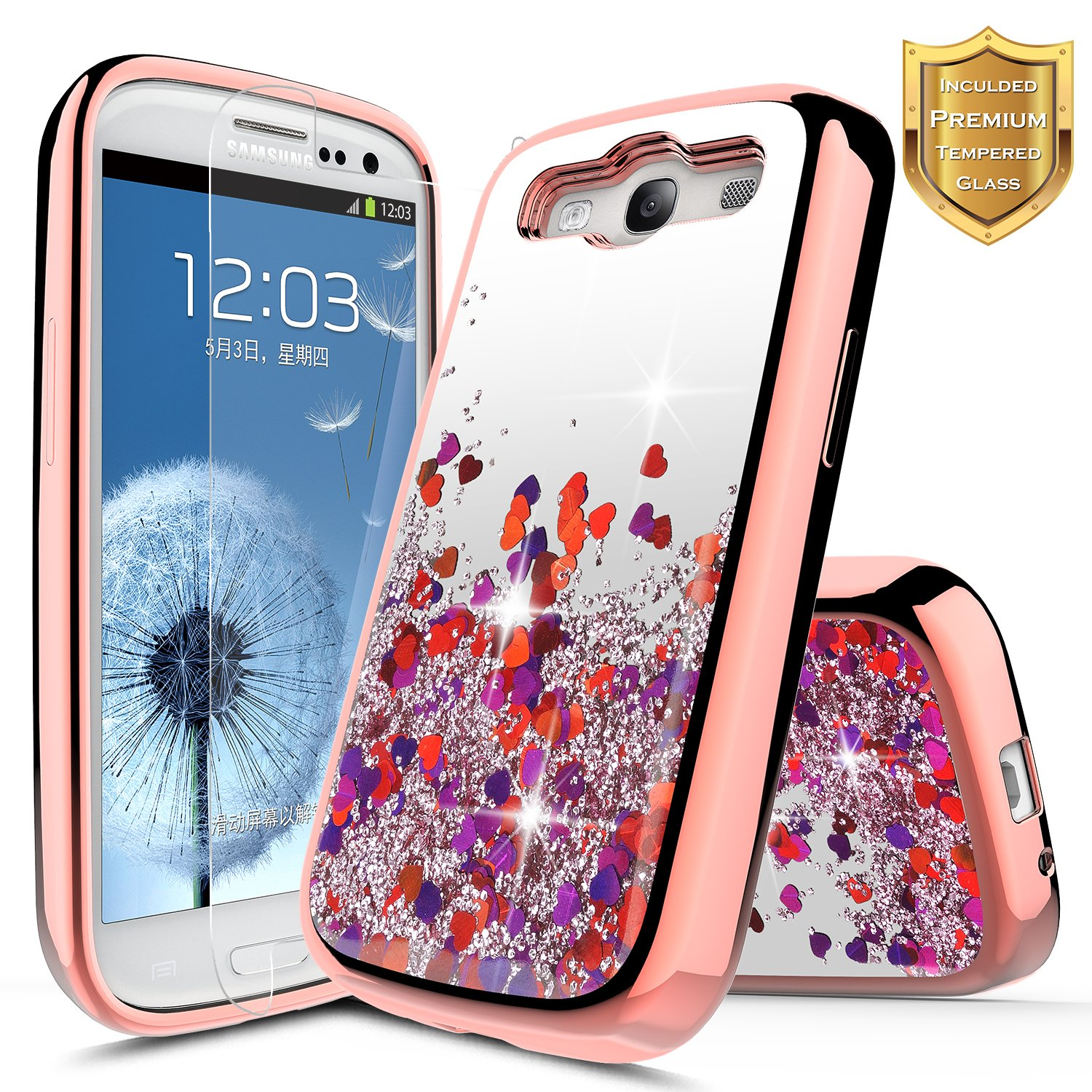 Galaxy S3 Case w/[Tempered Glass Screen Protector], NageBee Glitter Liquid Quicksand Waterfall Flowing Sparkle Shiny Bling Girls Cute Case for Galaxy ...