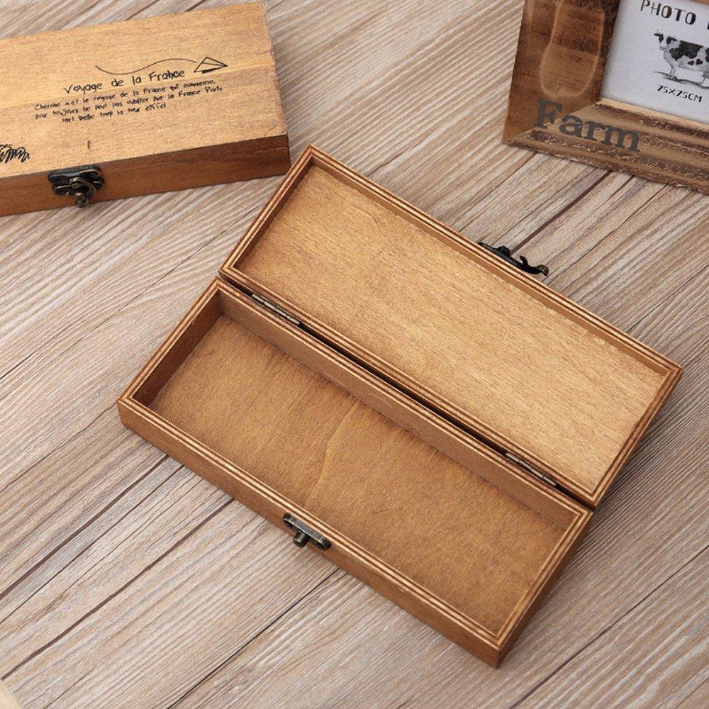 Wooden Jewelry Storage Box Rustic Treasure Box Personalized Keepsake Small Ring Card Private Box Memory Box Eiffel Tower Decorative Boxes for Women (Yellow)