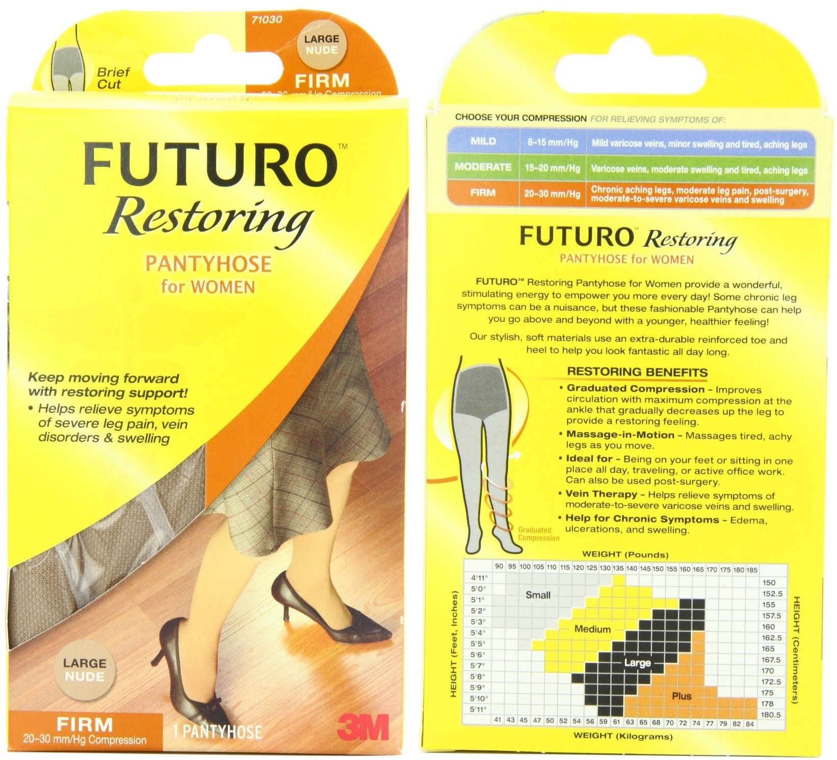 Futuro Pantyhose for Women, Nude, Large, Firm (20-30 mm/Hg) (4 Pack)