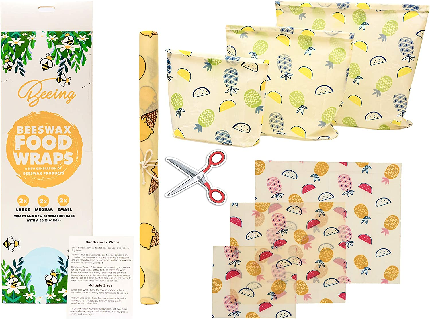 BEESWAX FOOD WRAP - 7 PACK ECO-FRIENDLY PRODUCTS - MANUALLY SEWED REUSABLE BAGS - 100% ORGANIC BEESWAX WRAPPING PAPER STORAGE - SUSTAINABLE PLASTIC FREE FOOD STORAGE - 3 SIZES (S, M, L)