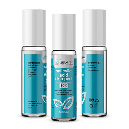 SALICYLIC Acid 30% Chemical Peel with Beta Hydroxy BHA For Rosacea, Blackheads, Whiteheads, Clogged Pores, Seborrheic Keratosis, Wart Remover, Dandruff, Bumpy Oily Acne Skin (15 ml Roll-On)