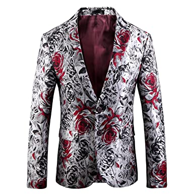 Mens High-end Floral Printed Modern Slim Fit Casual Jacket Blazer (Floral,2XL