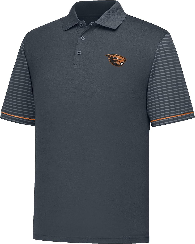 Charcoal//Orange J America NCAA Oregon State Beavers Mens Linebacker Ii YB Dyed Color Bock Polo Shirt Medium