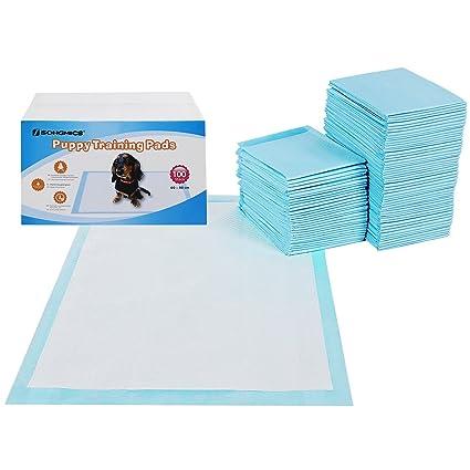 SONGMICS 100 Unidades Empapadores Toallitas Pañales Almohadillas de Entrenamiento para Mascotas Absorbente 90 x 60 cm