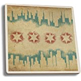 Chicago, Illinois - Flag and Skyline Tapestry (Set of 4 Ceramic Coasters - Cork-backed, Absorbent)