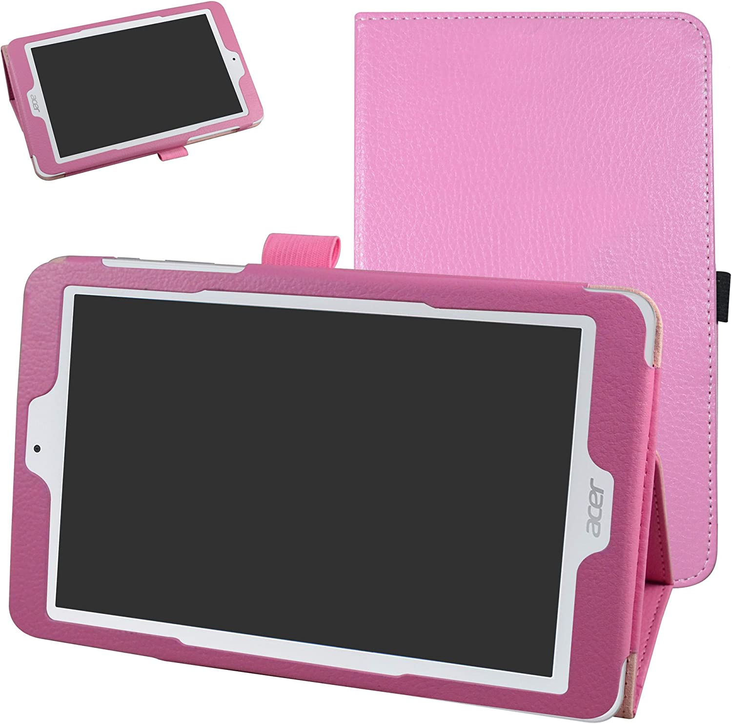 "Acer Iconia One 8 B1-850 Case,Mama Mouth PU Leather Folio 2-Folding Stand Cover with Stylus Holder for 8"" Acer Iconia One 8 B1-850 Android Tablet,Pink"