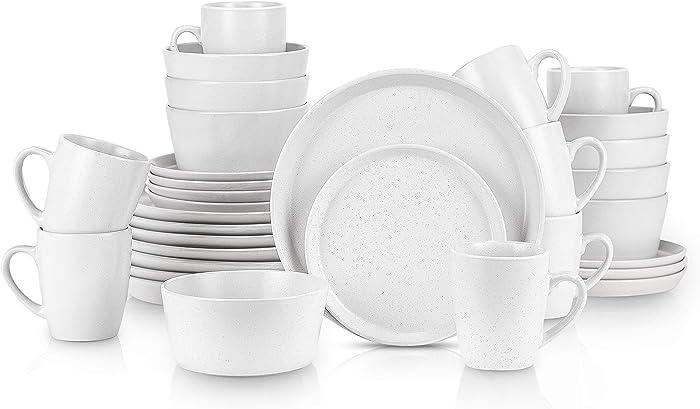 Stone Lain 32 Piece Stoneware Round Dinnerware Set, Service for 8, White Speckled