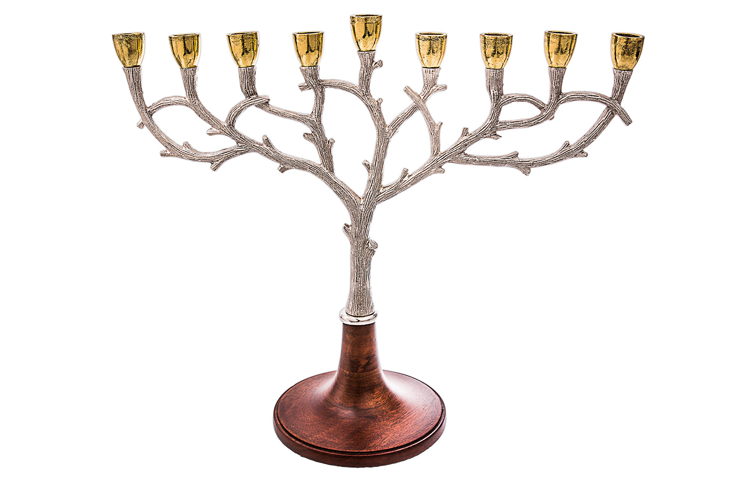 Stunning Hammered Aluminum Stainless Steel Two Tone Oil Hanukkah Menorah with Gold Leaf Accent