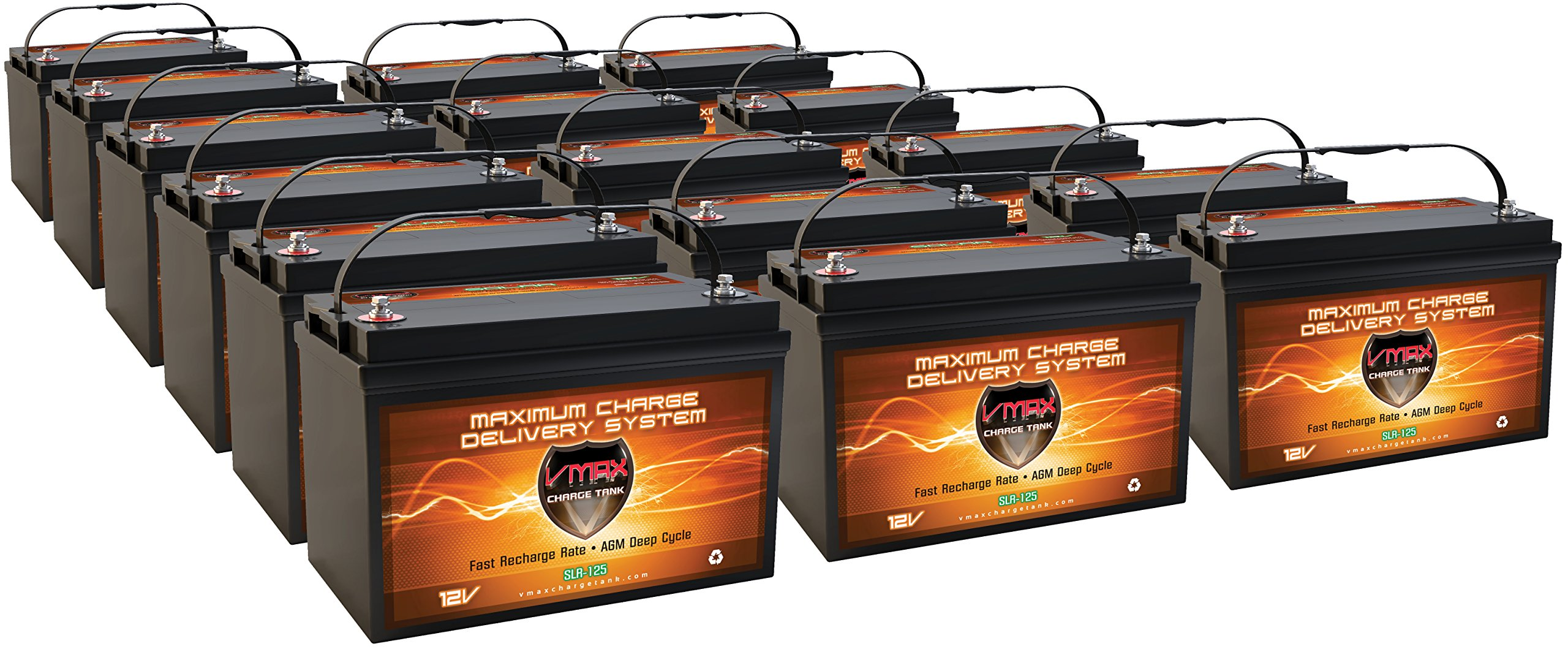 Vmaxtanks VMAXSLR125-16 AGM deep cycle 12V 2000AH battery for Use with PV Solar Panel wind turbine gas or electric power backup generator or smart charger for off grid sump pump lift winch pallet jack and any other heavy duty application by VMAX Solar