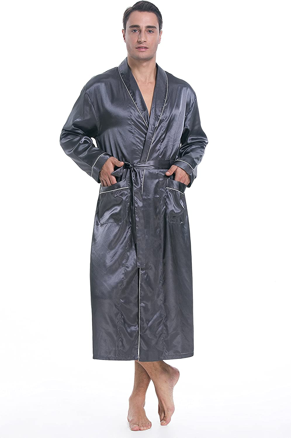 Lavenderi Mens Silky Satin Lounge Robe, Long Lightweight Sleepwear