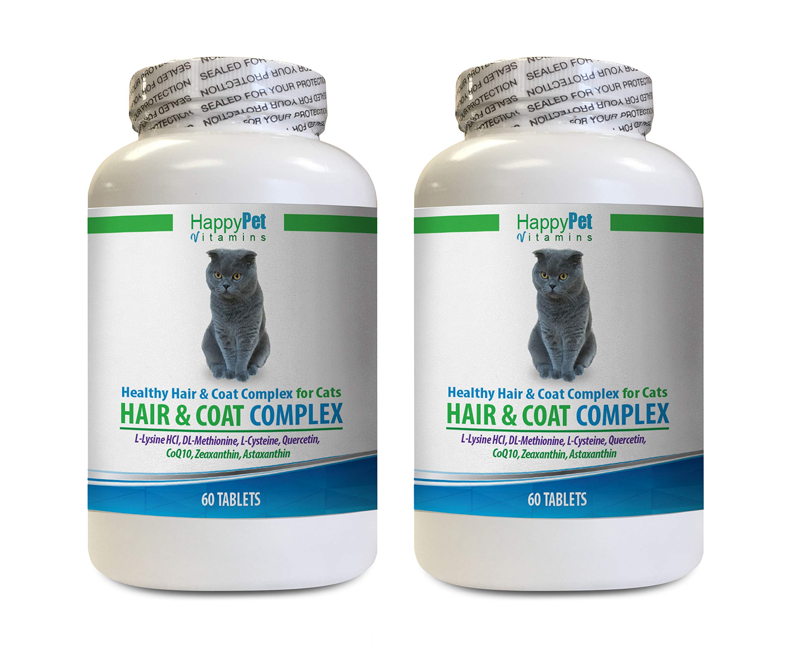 HAPPY PET VITAMINS LLC cat Hair and Skin Supplement - Cats Natural Hair and Coat Complex - Immune System Boost - Nail Health - Magnesium for Cats - 2 Bottles (120 Tablets) by HAPPY PET VITAMINS LLC