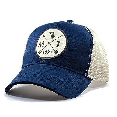 Amazon.com  Homeland Tees Men s Michigan Arrow Patch Trucker Hat ... 3c65bf1e6fc9