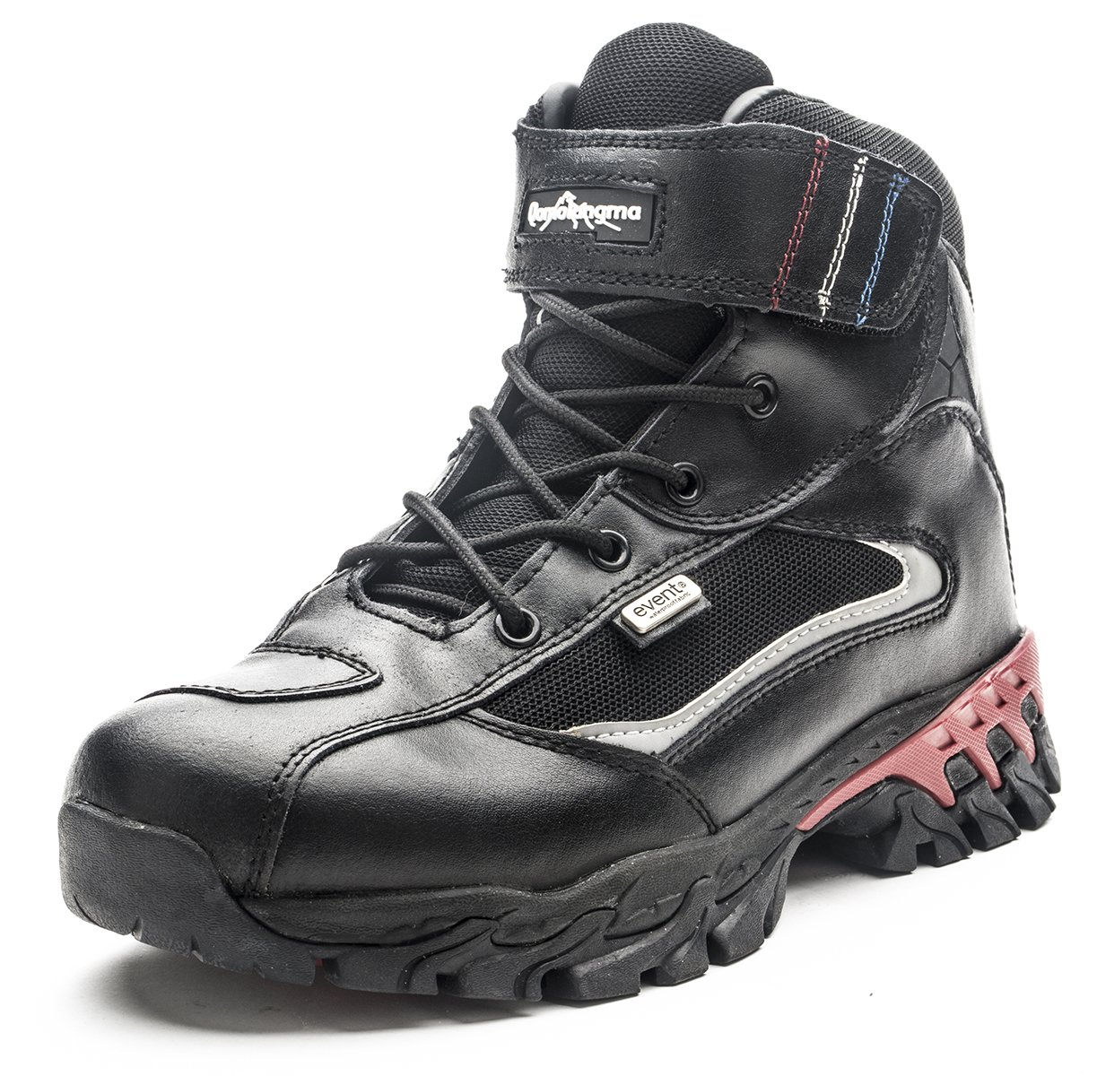 QOMOLANGMA Men's Waterproof Leather Motorcycle Combat Ankle Boots Hiking Trekking Outdoor Boots B01HI57HKK 9.5 M US|Black/Red