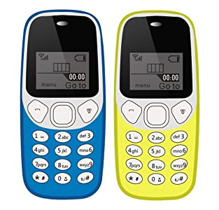 IKALL K71 Mobile Phone Combo (Light Blue + Yellow) with Vibration Feature, 800 mAh Battery