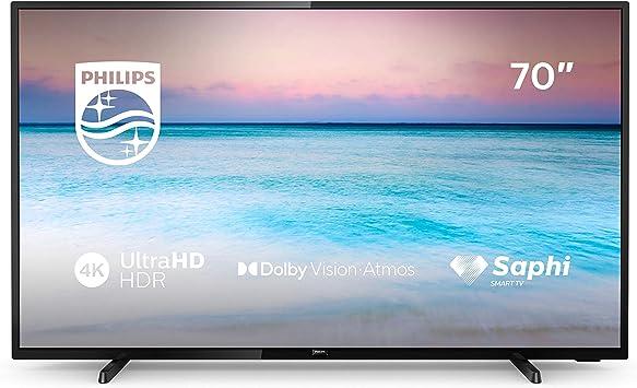 Philips 70PUS6504/12 Televisor 4K UHD de 178 cm (70 pulgadas) (4K UHD, P5 Perfect Picture Engine, Dolby Vision, Dolby Atmos, HDR 10+, Saphi Smart TV, ...