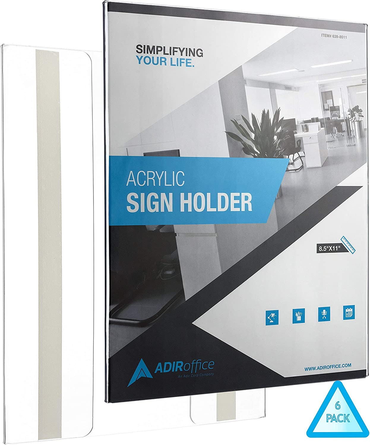 Amazon Com Adiroffice Sign Holder With Mount Adhesive For Easy Installation Portrait Style Ad Frame Side Insert With Clear Acrylic Great For Office Restaurant Business And Store 8 5 X 11 Inches 6