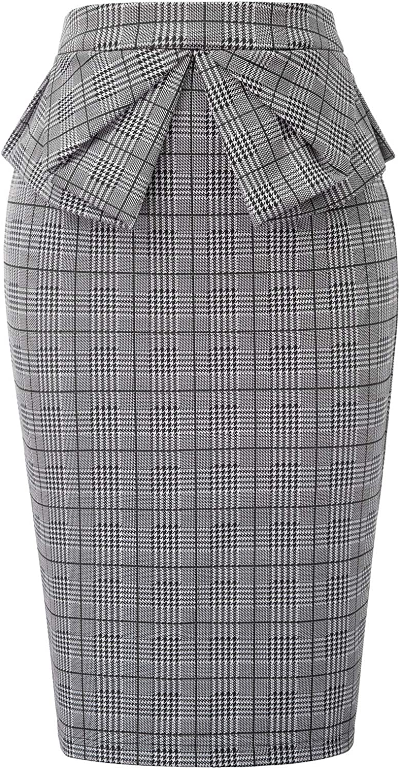 GRACE KARIN Women's Wear to Work Stretchy Ruffled Office Pencil Skirt
