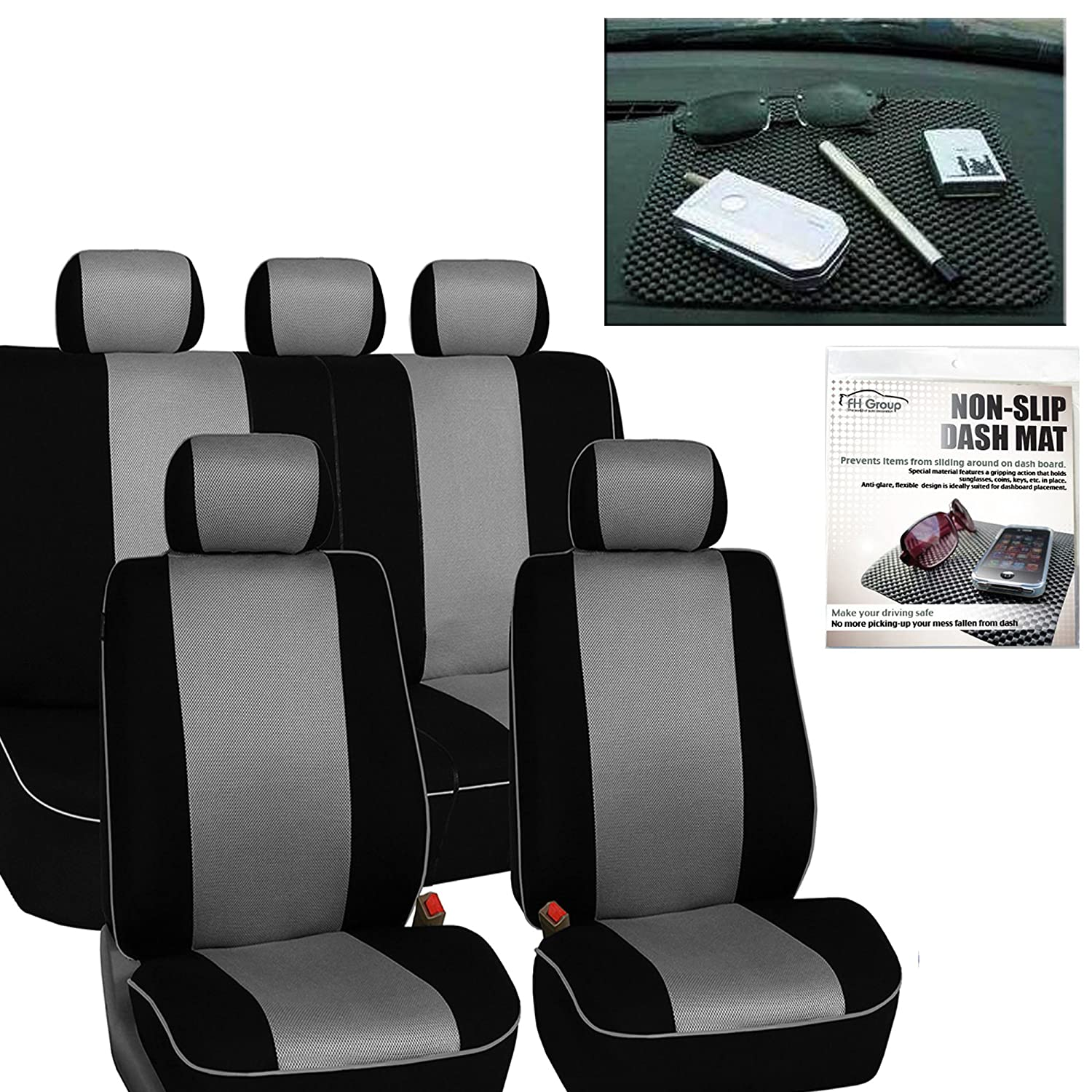 FH GROUP FH-FB063115 Full Set Sports Fabric Car Seat Covers, Airbag compatible and Split Bench with FH GROUP FH1002 Non-slip Dash Grip Pad Gray / Black- Fit Most Car, Truck, Suv, or Van