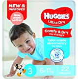 Huggies Ultra Dry Nappies, Boys, Size 3 Crawler (6-11kg), 22 Count
