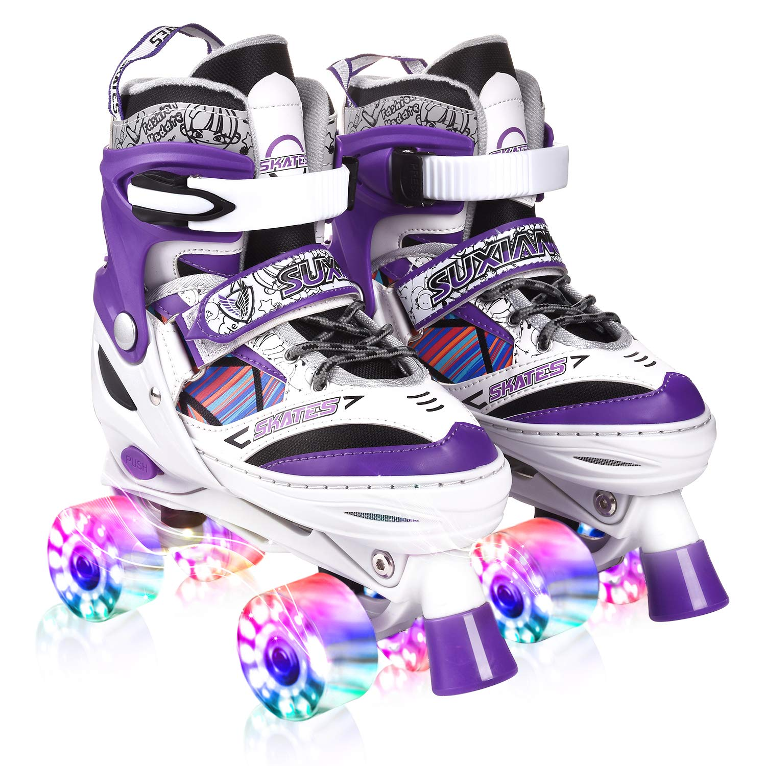 Kuxuan Saya Roller Skates Adjustable for Kids,with All Wheels Light up,Fun Illuminating for Girls and Ladies (Purple, Medium(1-4US)) by Kuxuan