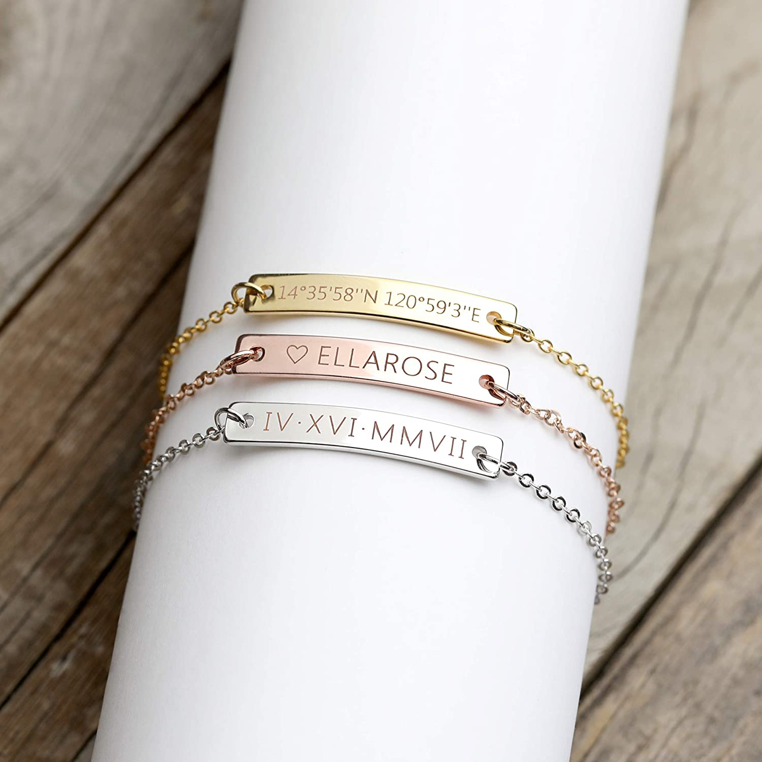 Amazon Com A Custom Engraved Bracelet Personalized Jewelry Bridesmaid Bracelet Custom Roman Numeral Bracelet Gold Anniversary Gifts Personalized Jewelry 3br Rn Handmade