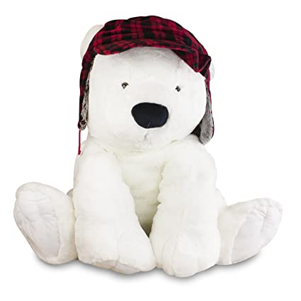Amazon Com Gitzy Jumbo Polar Bear With Hunting Hat Plush Teddy