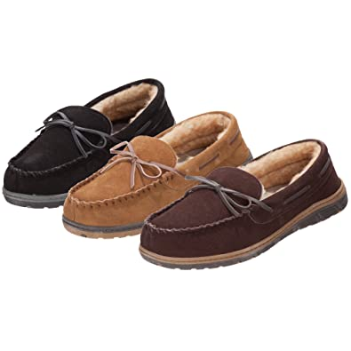 Rockport TruTech Suede Indoor/Ourdoor Mocassin Slipper (9, Brown)