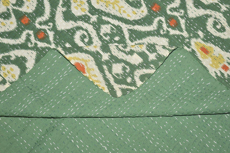 Indian Ikat Print Kantha Handmade Quilt Throw Home Decor Bedding Bedspread Gudri Indian Kantha Quilt Kantha Blanket , Bed Decorative Cotton Handmade Indian ralli Throw Vintage Gudari Quilt, Handmade G