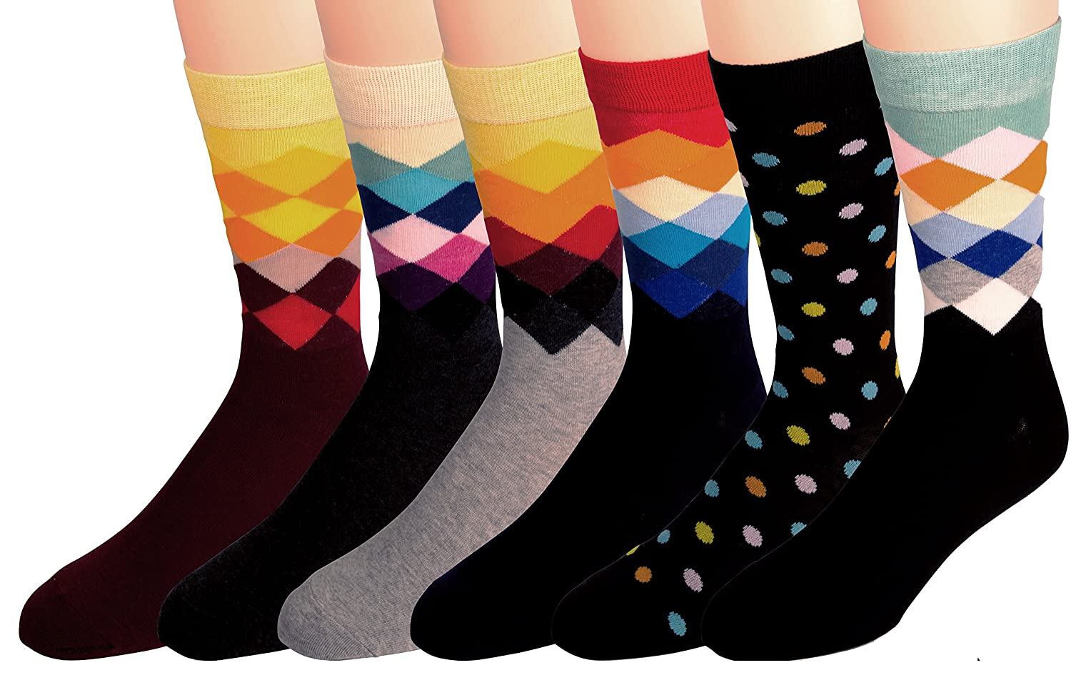 Men's Dress and Casual Socks - Fun Patterns and Colors - Breathable, Crew, Cotton Blend -by Zeke
