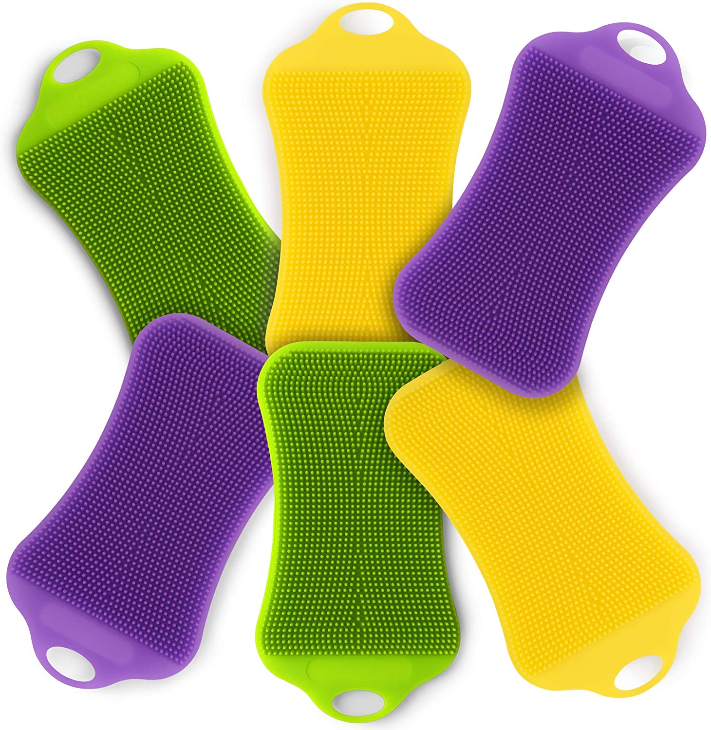 Silicone Sponge Dish Scrubber Set - 6 Pack Reusable Dishwashing Double-Sided Multipurpose Non Stick Silicone Dish Sponges 2 Yellow 2 Purple 2 Green for Cleaning Dishes Kitchen Brush Scrub Accessories