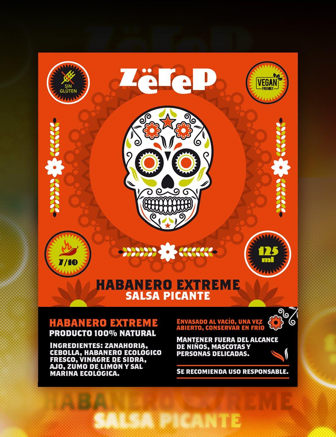Zëreps Salsa de Chile Habanero Muy Picante Habanero Extreme - 125 ML. Hecha con Chile Habanero Natural, Zanahoria, Cebolla, Vinagre de Sidra, Ajo, ...