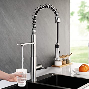 3 Way Kitchen Faucet Drinking Water Kitchen Faucet Kitchen Sink Faucet With Pull Down Sprayer Stainless Steel Spring Kitchen Faucet 3 In 1 Water Filter Faucet Brushed Nickel Faustina Amazon Com
