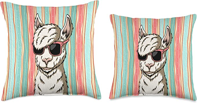 "16/"" Cushion Cover Llama Llamas Alpaca Alpacas No Drama 16x16 Black White Beige"