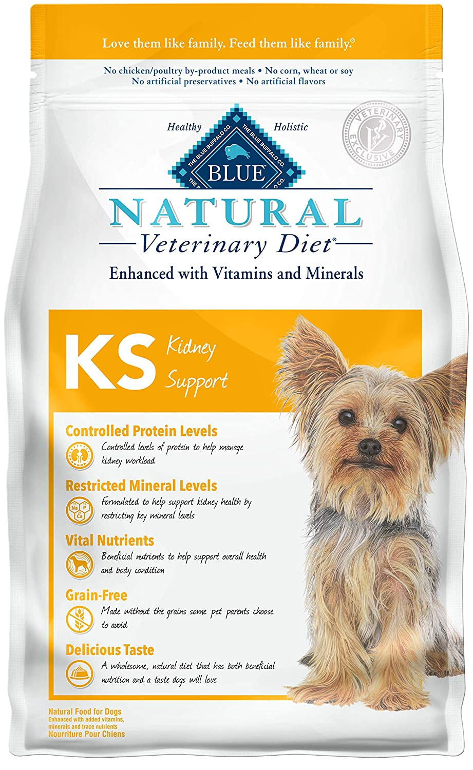 2. Blue Buffalo Natural Veterinary Diet KS Kidney Support Grain-Free Dry Dog Food