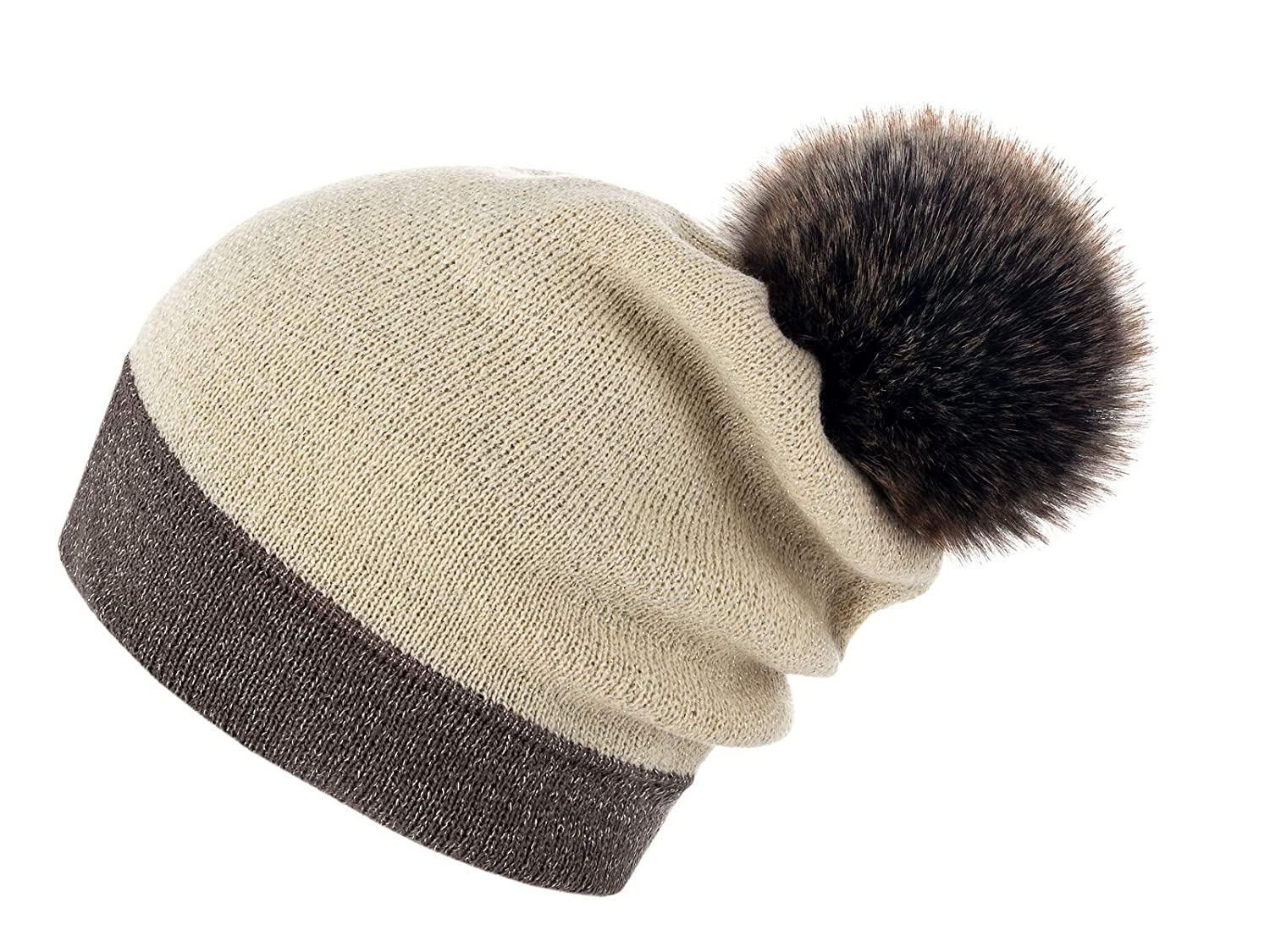 Brown Ecru Siberian Brown Futrzane Women's Slouchy Beanie Hat with a Faux Fur Pom Pom