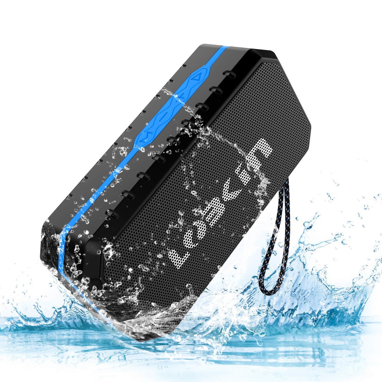 LOBKIN Bluetooth Tragbare Lautsprecher Wasserdicht Speaker Stoßfest Boxen Wireless Stereo Boombox mit eingebautem Mikrofon Kabelloser Musikbox mit 8-Stunden Spielzeit und TF Karte (Blau)